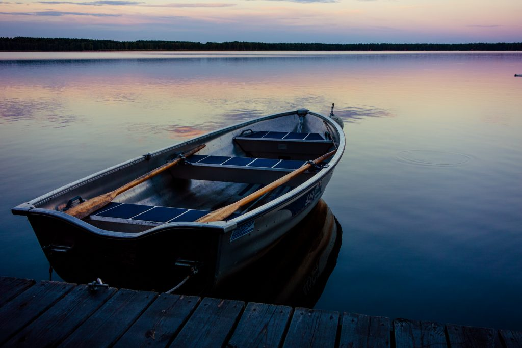 rowboat at sunset